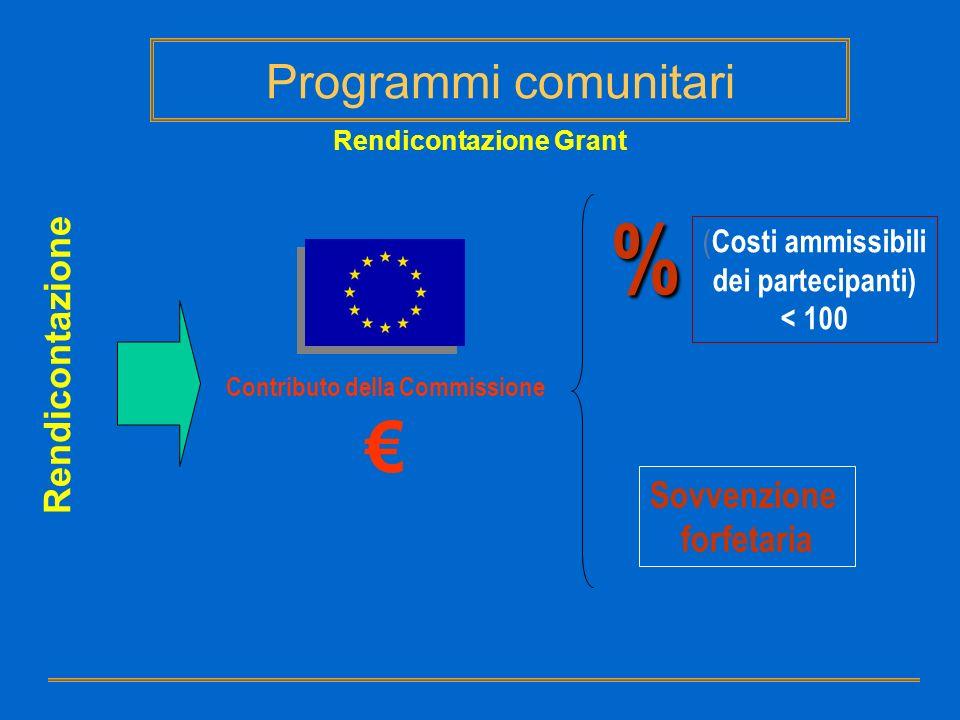 Rendicontazione Grant Rendicontazione Contributo della Commissione % ( Costi ammissibili dei partecipanti) < 100 Sovvenzione forfetaria Programmi comu