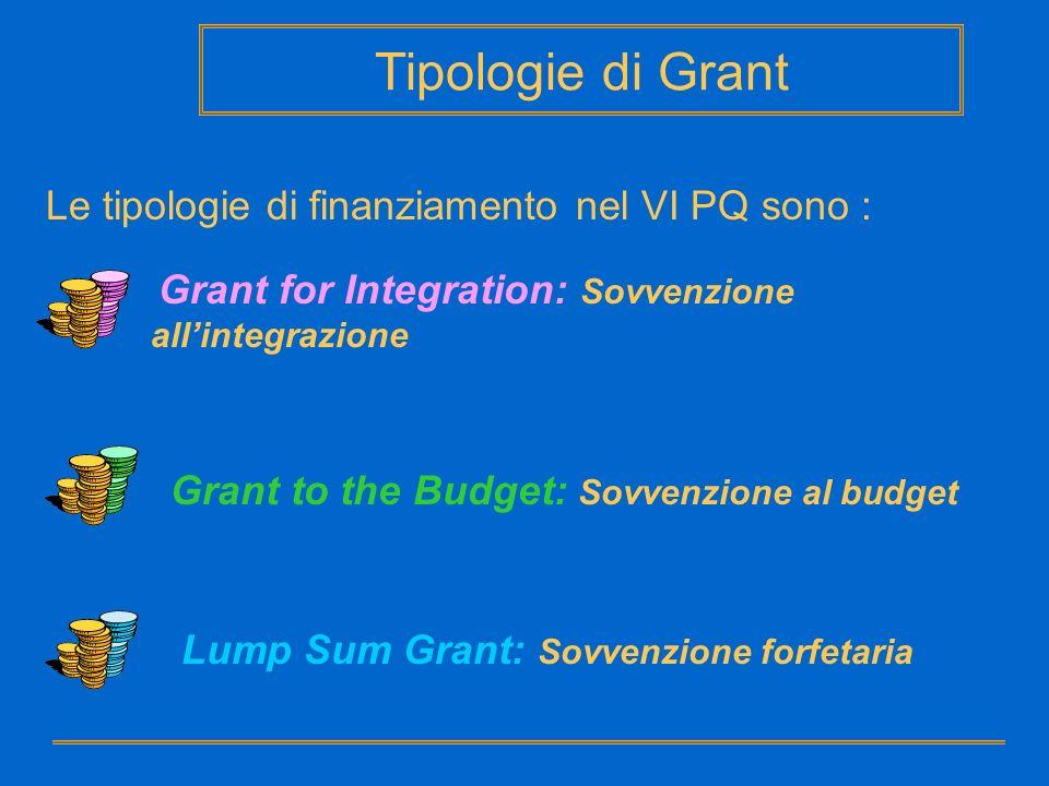 Le tipologie di finanziamento nel VI PQ sono : Grant for Integration: Sovvenzione allintegrazione Grant to the Budget: Sovvenzione al budget Lump Sum