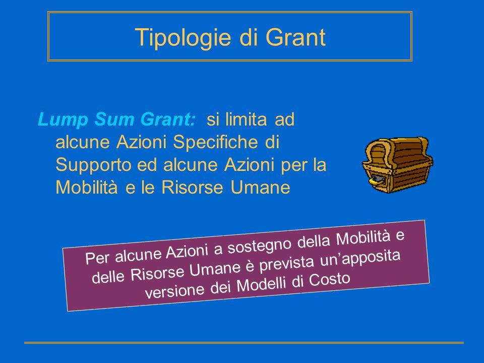 Tipologie di Grant Lump Sum Grant: si limita ad alcune Azioni Specifiche di Supporto ed alcune Azioni per la Mobilità e le Risorse Umane Per alcune Az