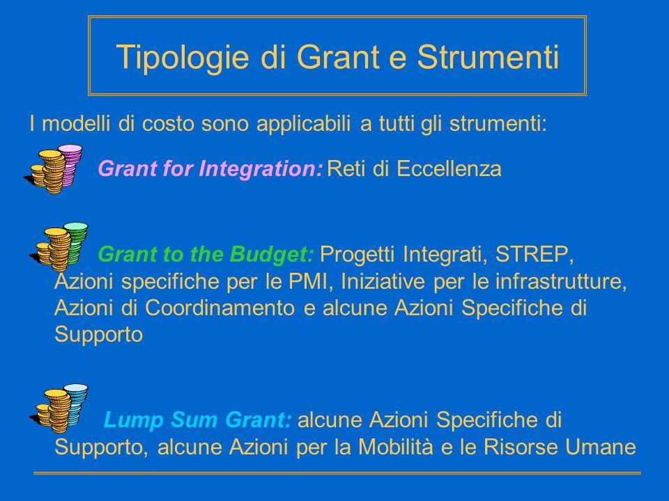 Tipologie di Grant e Strumenti I modelli di costo sono applicabili a tutti gli strumenti: Grant for Integration: Reti di Eccellenza Grant to the Budge