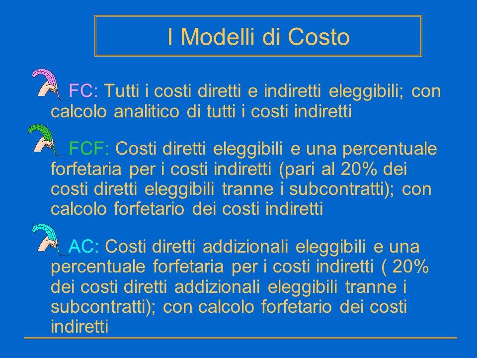 FC: Tutti i costi diretti e indiretti eleggibili; con calcolo analitico di tutti i costi indiretti FCF: Costi diretti eleggibili e una percentuale for
