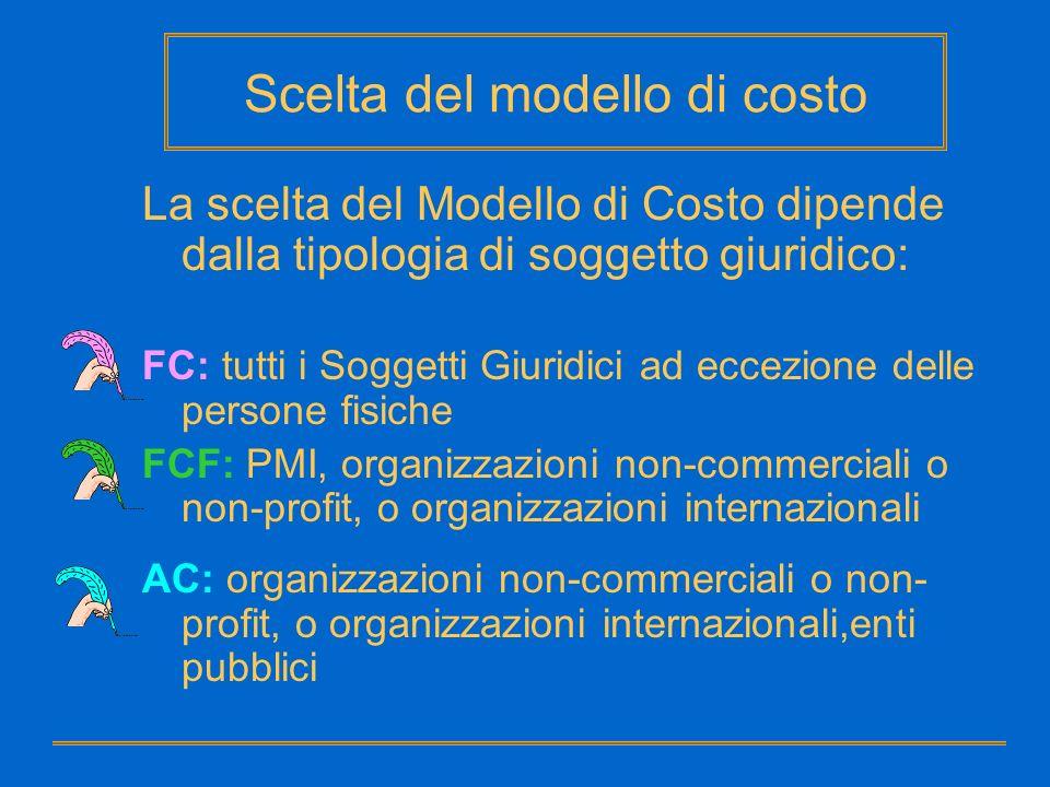 Scelta del modello di costo La scelta del Modello di Costo dipende dalla tipologia di soggetto giuridico: FC: tutti i Soggetti Giuridici ad eccezione