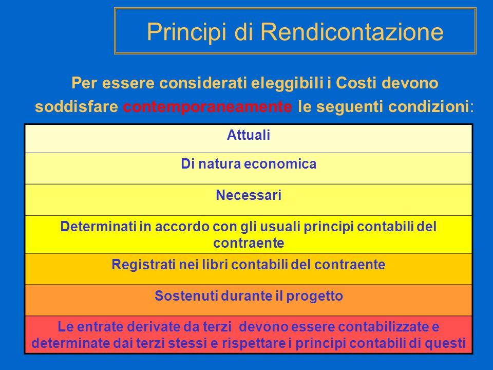 Principi di Rendicontazione Per essere considerati eleggibili i Costi devono soddisfare contemporaneamente le seguenti condizioni: Attuali Di natura e