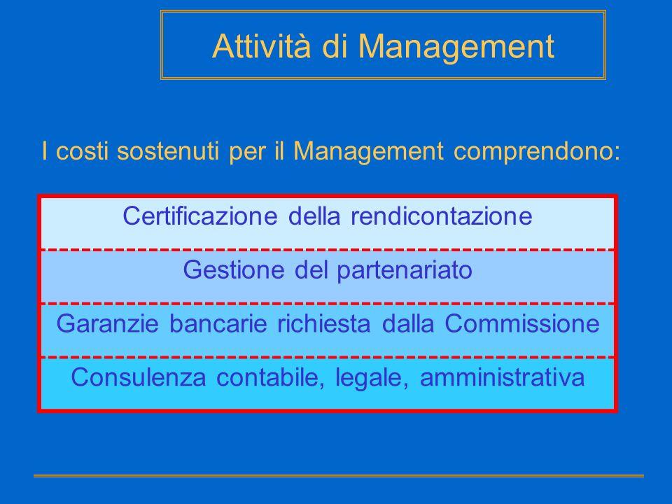 Attività di Management I costi sostenuti per il Management comprendono: Certificazione della rendicontazione Gestione del partenariato Garanzie bancar