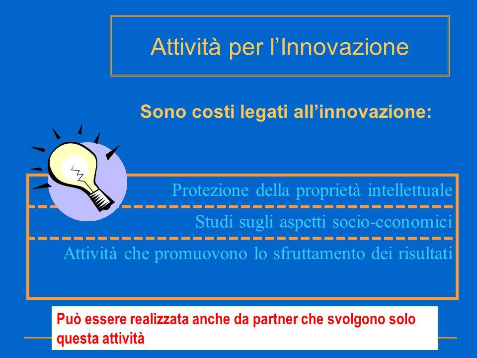 Attività per lInnovazione Sono costi legati allinnovazione: Protezione della proprietà intellettuale Studi sugli aspetti socio-economici Attività che