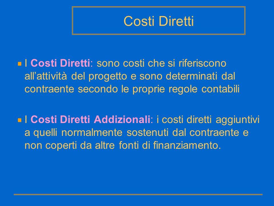 Costi Diretti I Costi Diretti: sono costi che si riferiscono allattività del progetto e sono determinati dal contraente secondo le proprie regole cont