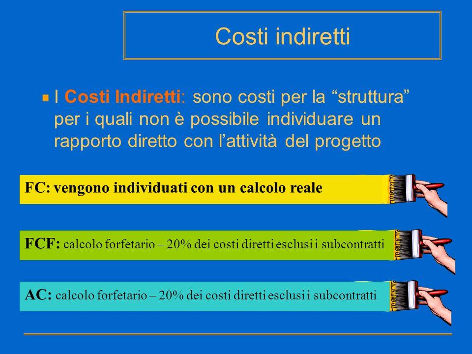 Costi indiretti I Costi Indiretti: sono costi per la struttura per i quali non è possibile individuare un rapporto diretto con lattività del progetto