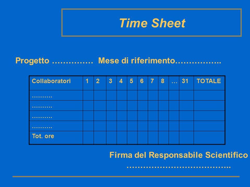 Time Sheet Progetto …………… Mese di riferimento…………….. Collaboratori12345678…31TOTALE ………. Tot. ore Firma del Responsabile Scientifico ………………………………..