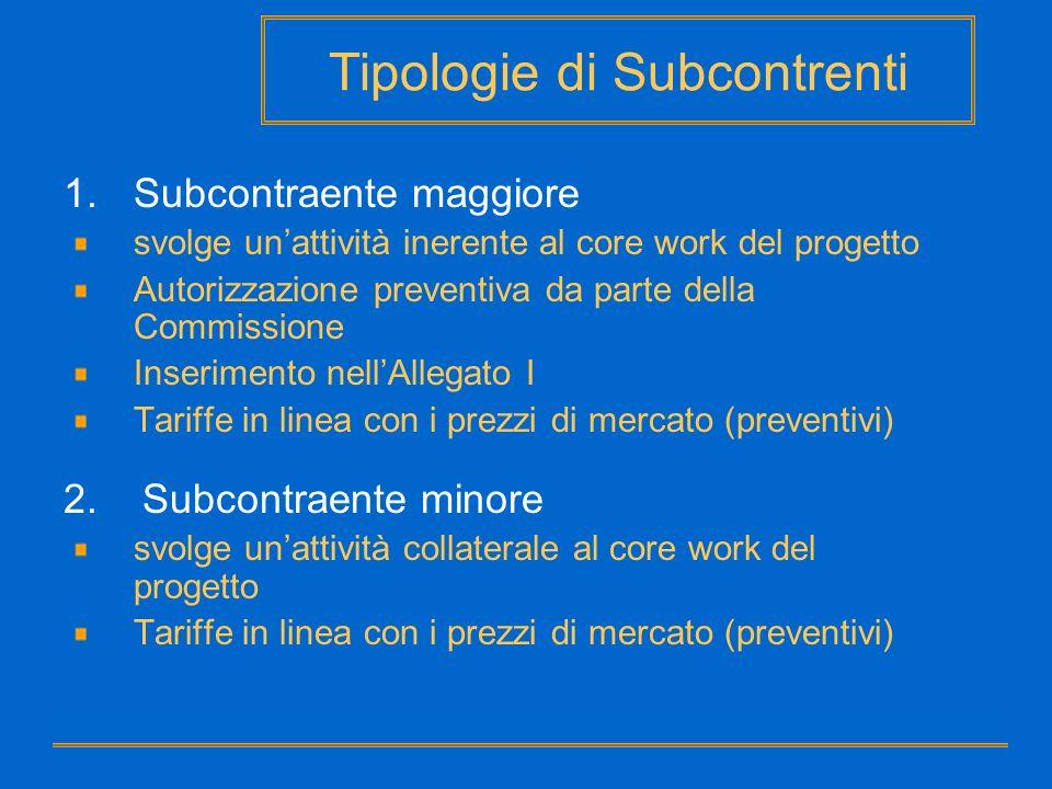 Tipologie di Subcontrenti 1.Subcontraente maggiore svolge unattività inerente al core work del progetto Autorizzazione preventiva da parte della Commi