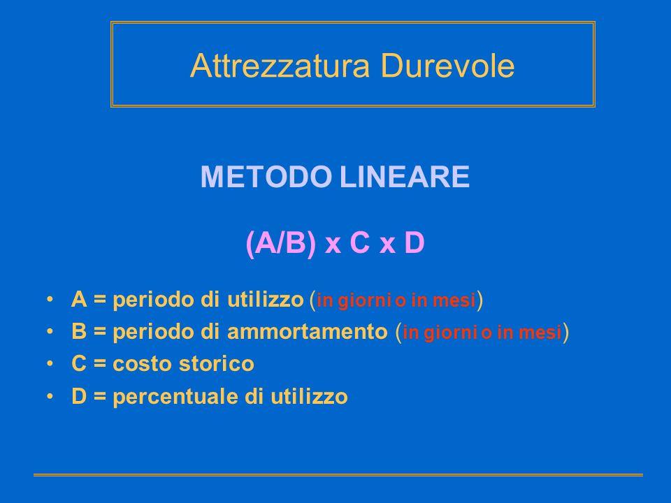 Attrezzatura Durevole METODO LINEARE (A/B) x C x D A = periodo di utilizzo ( in giorni o in mesi ) B = periodo di ammortamento ( in giorni o in mesi )