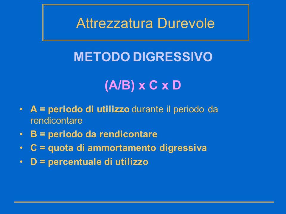 Attrezzatura Durevole METODO DIGRESSIVO (A/B) x C x D A = periodo di utilizzo durante il periodo da rendicontare B = periodo da rendicontare C = quota