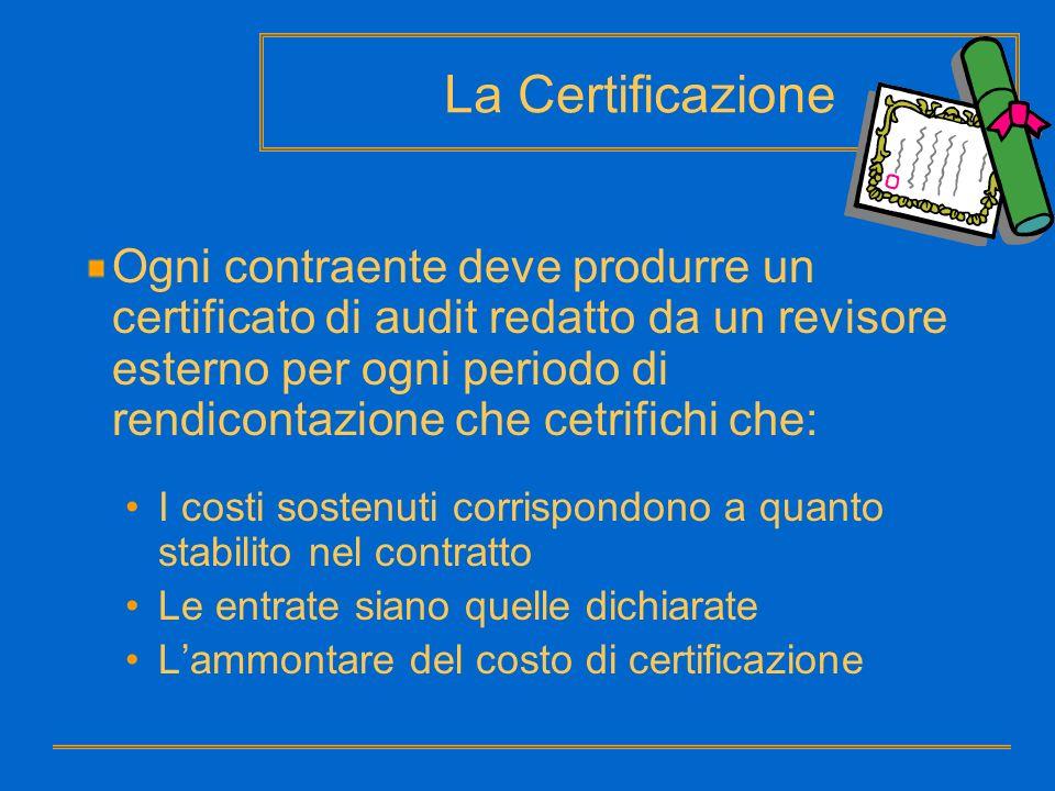 Ogni contraente deve produrre un certificato di audit redatto da un revisore esterno per ogni periodo di rendicontazione che cetrifichi che: I costi s