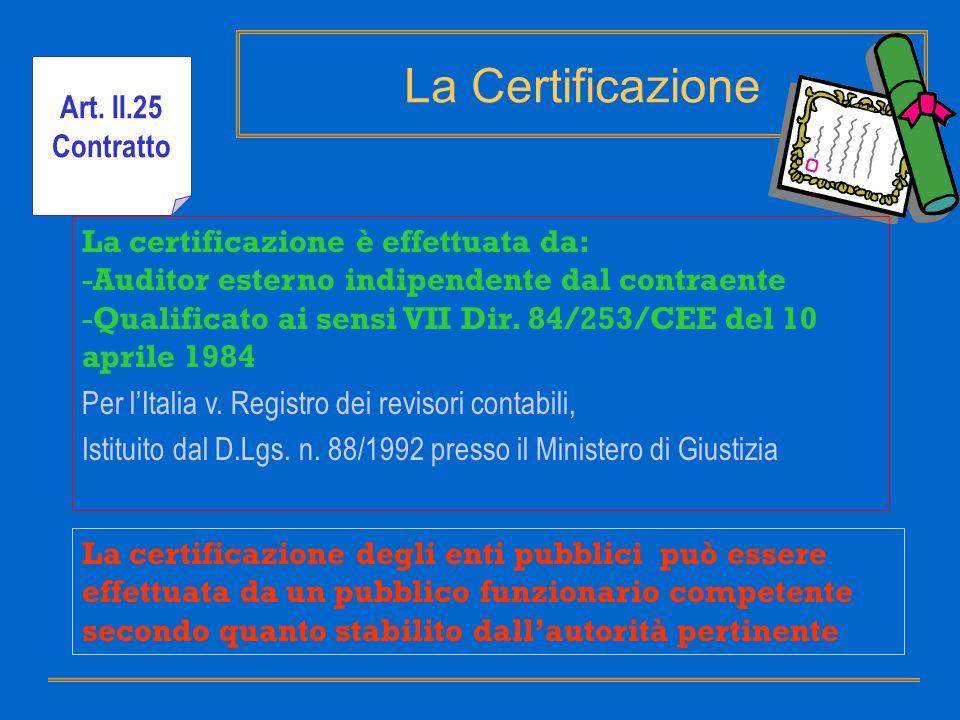 La Certificazione La certificazione è effettuata da: -Auditor esterno indipendente dal contraente -Qualificato ai sensi VII Dir. 84/253/CEE del 10 apr