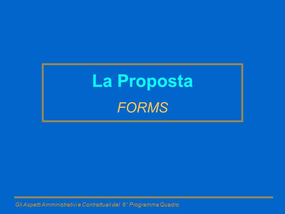 Gli Aspetti Amministrativi e Contrattuali del 6° Programma Quadro La Proposta FORMS