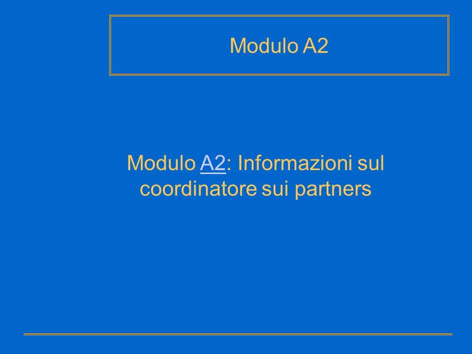 Modulo A2: Informazioni sul coordinatore sui partnersA2 Modulo A2