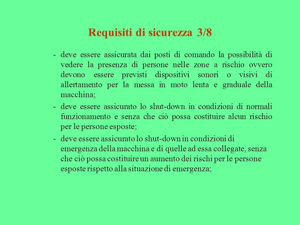 Requisiti di sicurezza 3/8 -deve essere assicurata dai posti di comando la possibilità di vedere la presenza di persone nelle zone a rischio ovvero de
