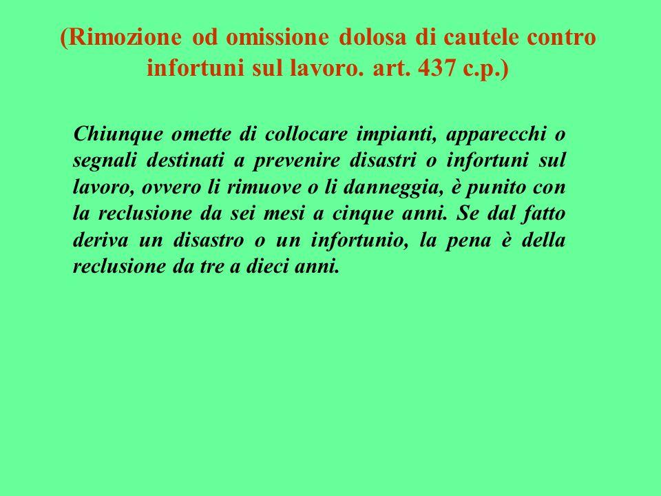 (Rimozione od omissione dolosa di cautele contro infortuni sul lavoro. art. 437 c.p.) Chiunque omette di collocare impianti, apparecchi o segnali dest
