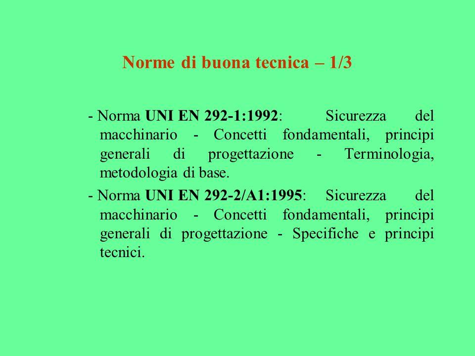 Norme di buona tecnica – 1/3 - Norma UNI EN 292-1:1992:Sicurezza del macchinario - Concetti fondamentali, principi generali di progettazione - Termino