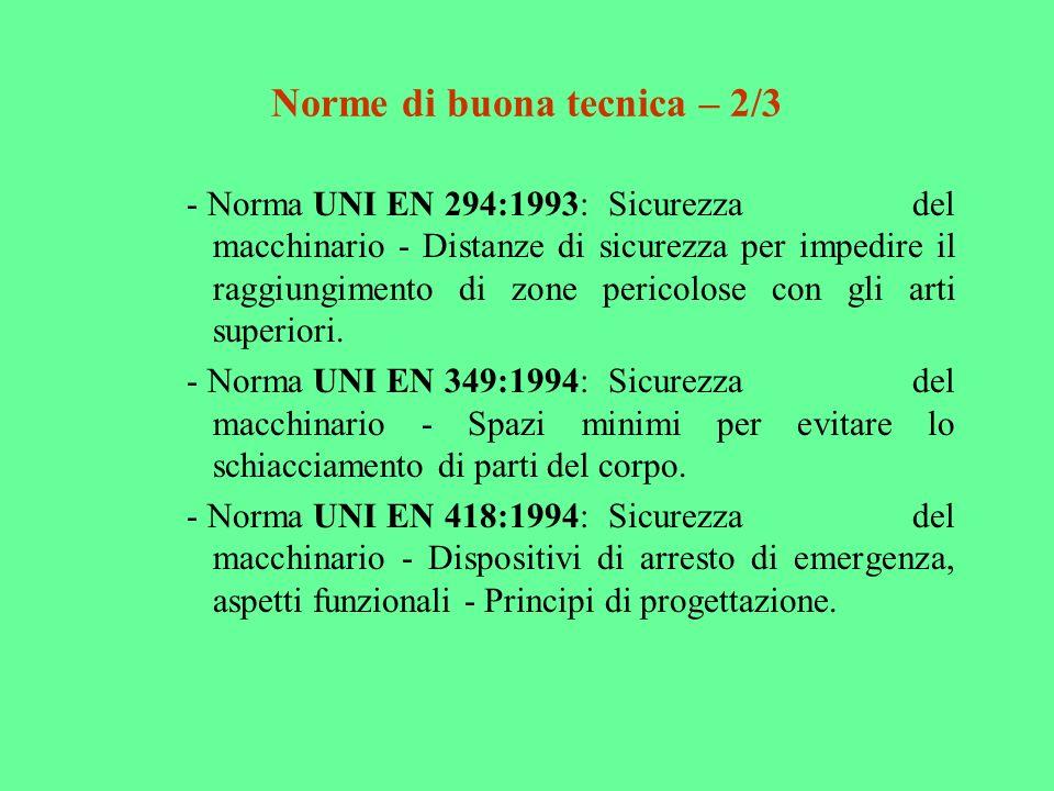 Norme di buona tecnica – 2/3 - Norma UNI EN 294:1993:Sicurezza del macchinario - Distanze di sicurezza per impedire il raggiungimento di zone pericolo