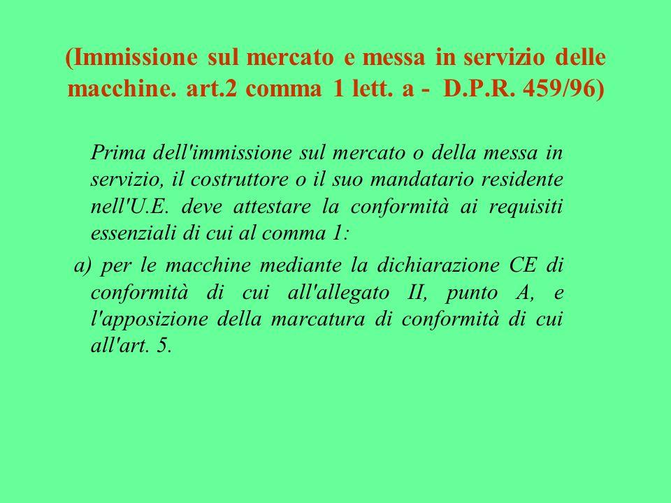 (Immissione sul mercato e messa in servizio delle macchine. art.2 comma 1 lett. a - D.P.R. 459/96) Prima dell'immissione sul mercato o della messa in