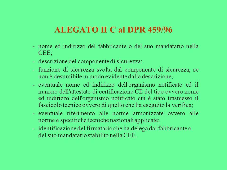 ALEGATO II C al DPR 459/96 -nome ed indirizzo del fabbricante o del suo mandatario nella CEE; -descrizione del componente di sicurezza; -funzione di s