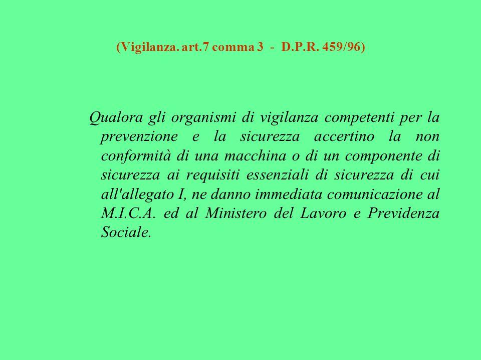 (Vigilanza. art.7 comma 3 - D.P.R. 459/96) Qualora gli organismi di vigilanza competenti per la prevenzione e la sicurezza accertino la non conformità