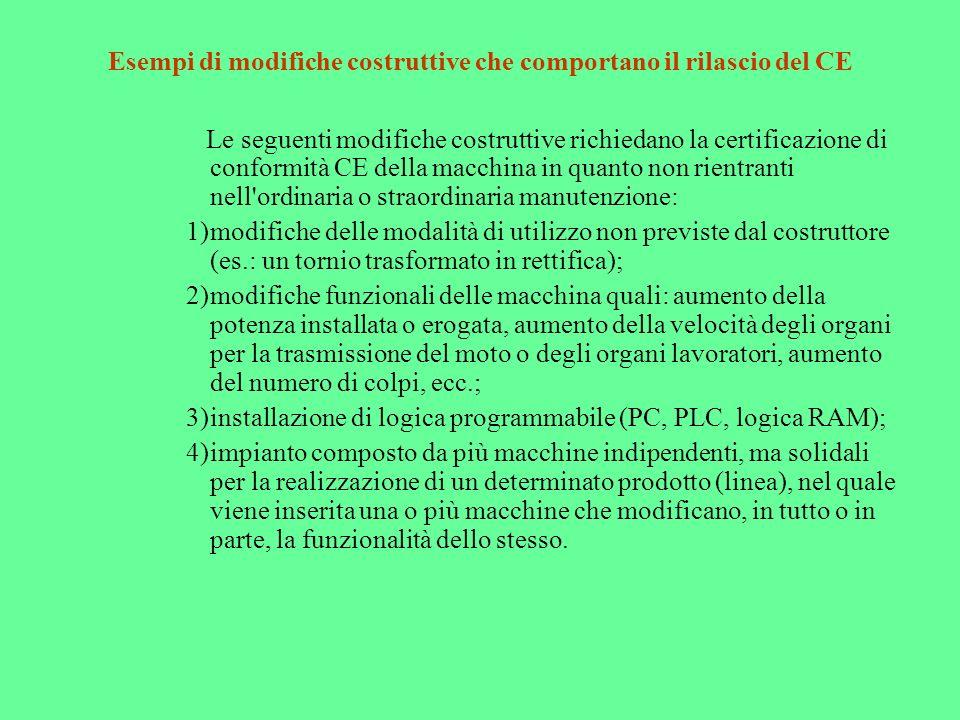 Esempi di modifiche costruttive che comportano il rilascio del CE Le seguenti modifiche costruttive richiedano la certificazione di conformità CE dell