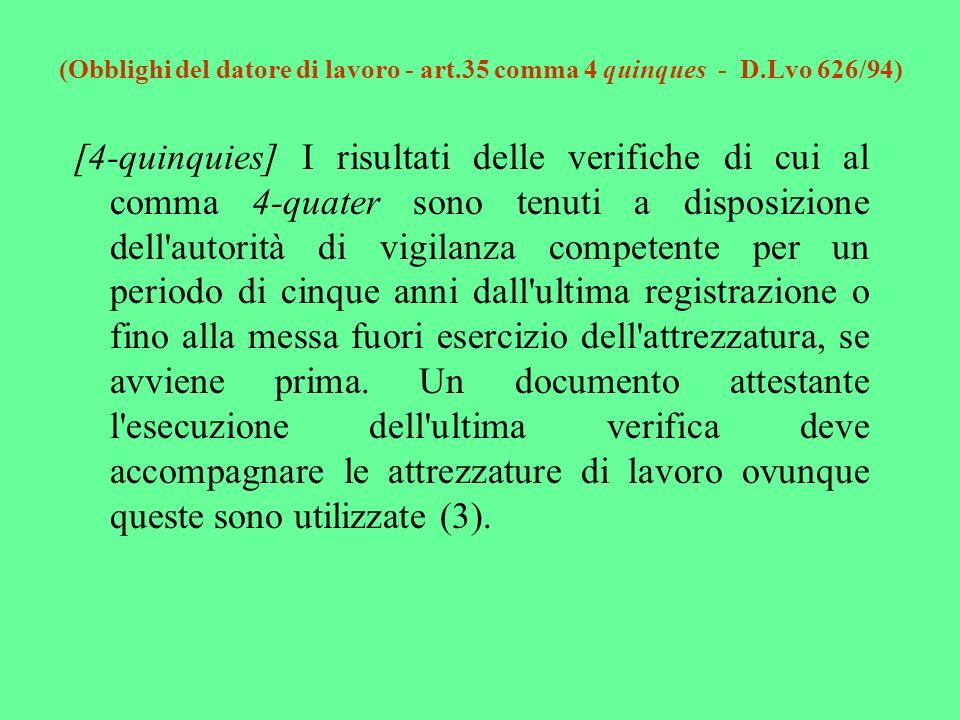 (Obblighi del datore di lavoro - art.35 comma 4 quinques - D.Lvo 626/94) [4-quinquies] I risultati delle verifiche di cui al comma 4-quater sono tenut