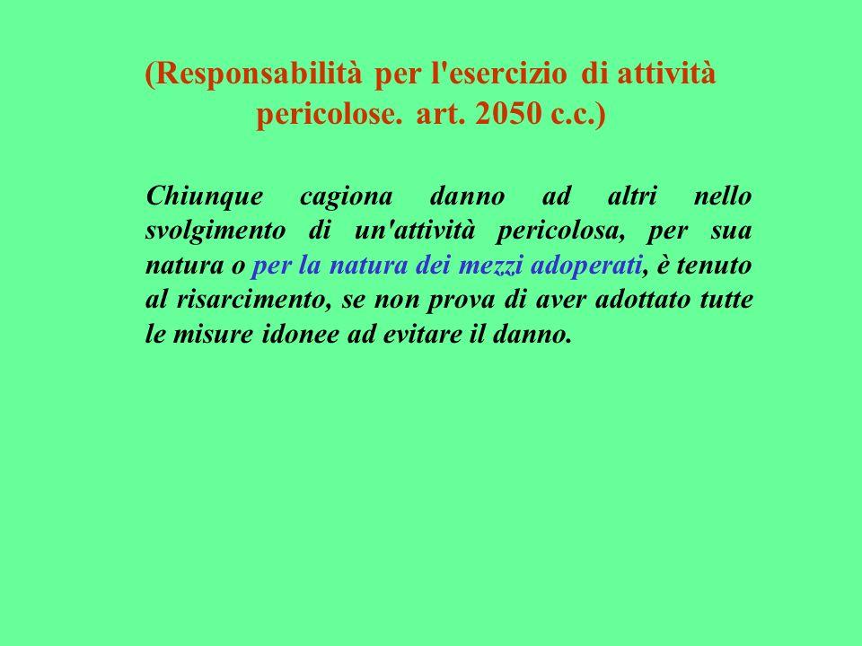 (Responsabilità per l'esercizio di attività pericolose. art. 2050 c.c.) Chiunque cagiona danno ad altri nello svolgimento di un'attività pericolosa, p
