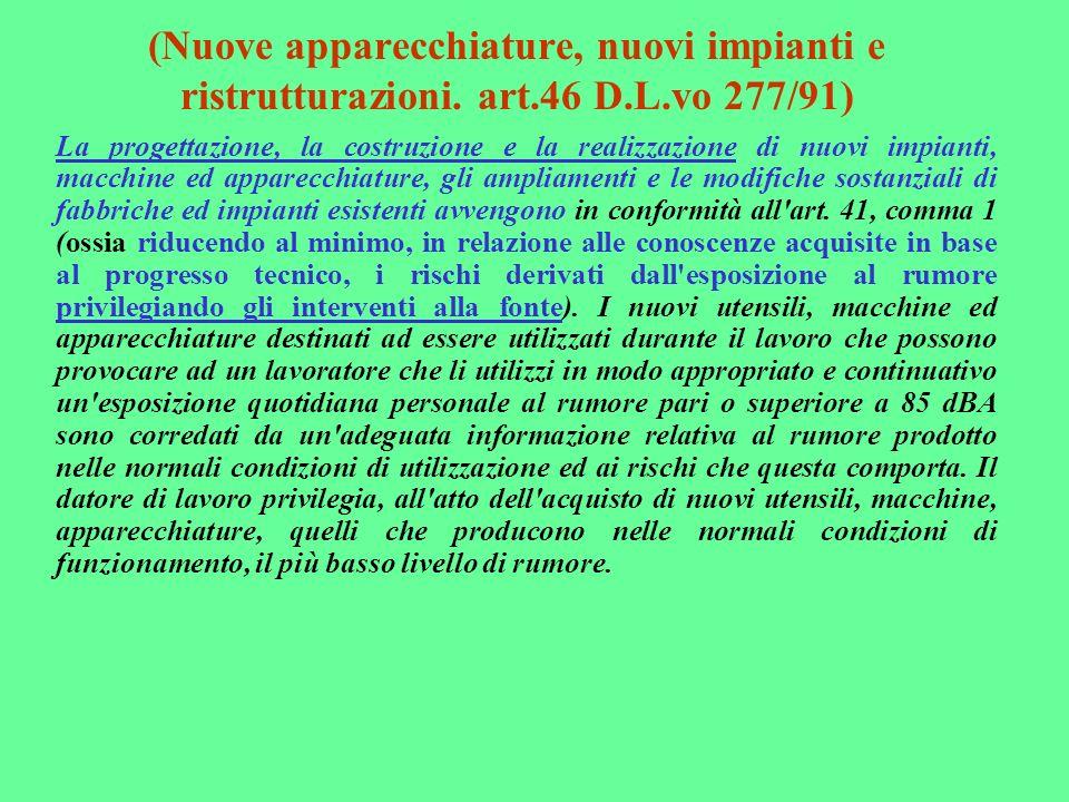 (Nuove apparecchiature, nuovi impianti e ristrutturazioni. art.46 D.L.vo 277/91) La progettazione, la costruzione e la realizzazione di nuovi impianti