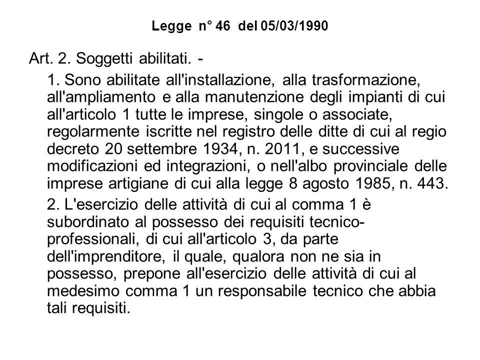 Legge n° 46 del 05/03/1990 Art. 2. Soggetti abilitati. - 1. Sono abilitate all'installazione, alla trasformazione, all'ampliamento e alla manutenzione