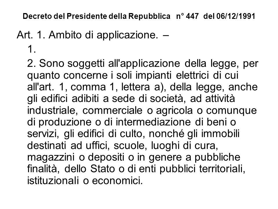 Decreto del Presidente della Repubblica n° 447 del 06/12/1991 Art. 1. Ambito di applicazione. – 1. 2. Sono soggetti all'applicazione della legge, per