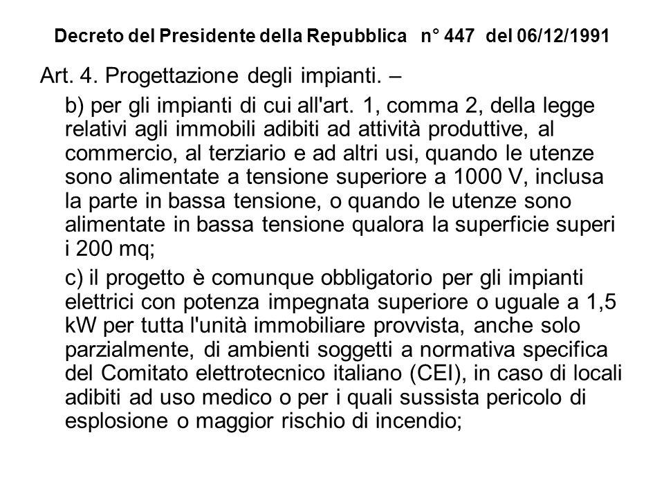 Decreto del Presidente della Repubblica n° 447 del 06/12/1991 Art. 4. Progettazione degli impianti. – b) per gli impianti di cui all'art. 1, comma 2,