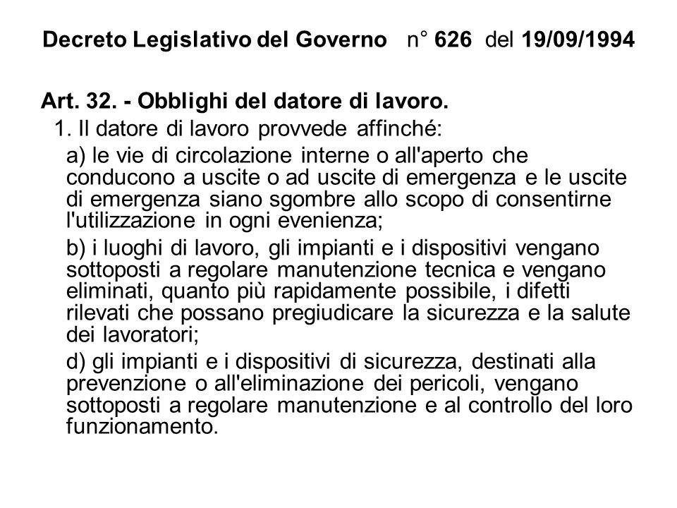 Decreto Legislativo del Governo n° 626 del 19/09/1994 Art. 32. - Obblighi del datore di lavoro. 1. Il datore di lavoro provvede affinché: a) le vie di
