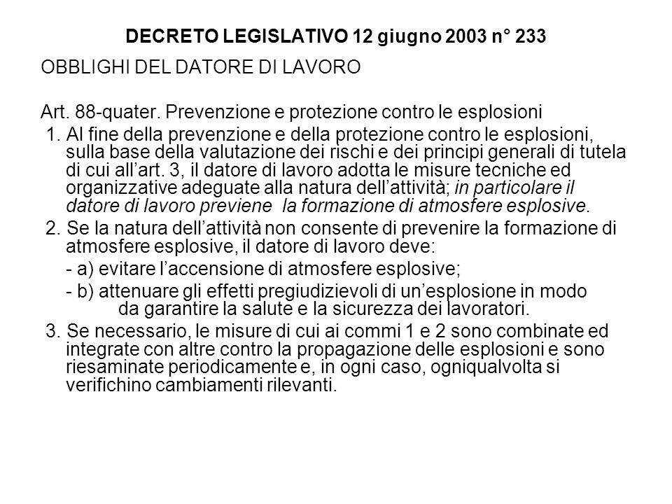 DECRETO LEGISLATIVO 12 giugno 2003 n° 233 OBBLIGHI DEL DATORE DI LAVORO Art. 88-quater. Prevenzione e protezione contro le esplosioni 1. Al fine della