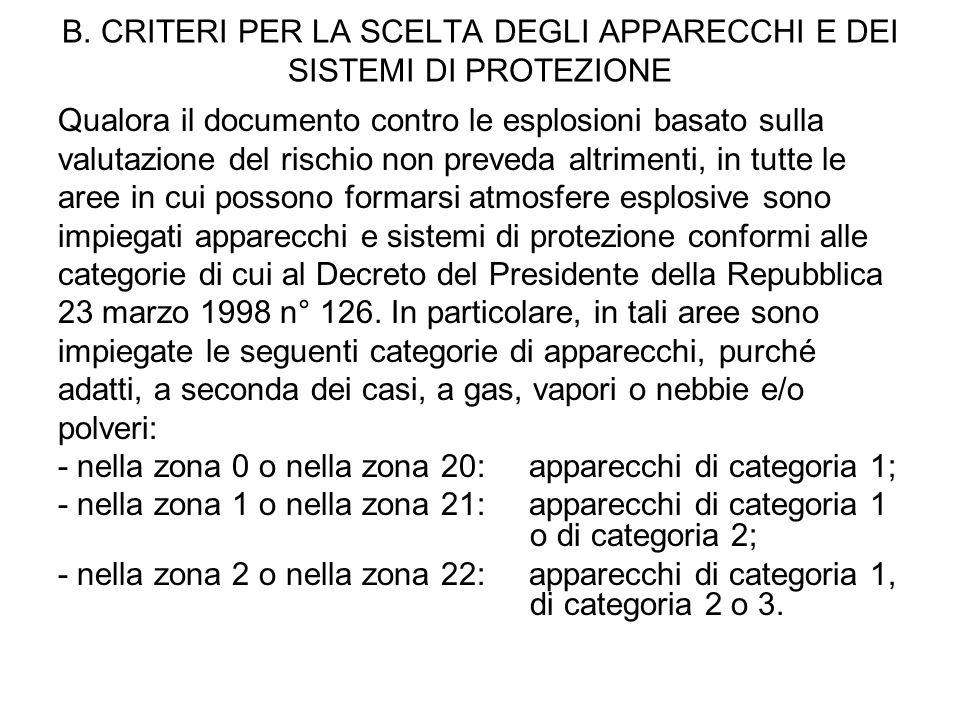 B. CRITERI PER LA SCELTA DEGLI APPARECCHI E DEI SISTEMI DI PROTEZIONE Qualora il documento contro le esplosioni basato sulla valutazione del rischio n