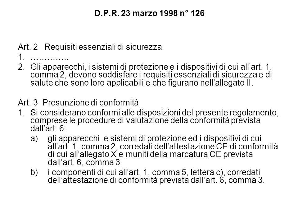 D.P.R. 23 marzo 1998 n° 126 Art. 2 Requisiti essenziali di sicurezza 1.………….. 2.Gli apparecchi, i sistemi di protezione e i dispositivi di cui allart.