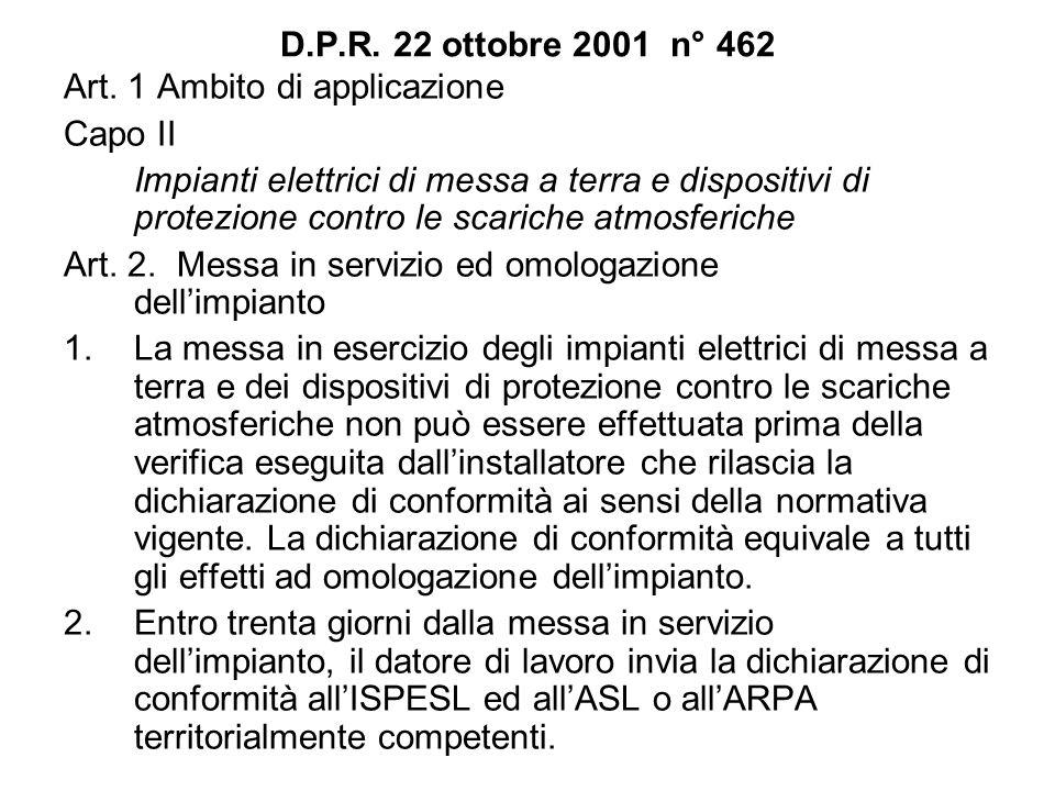 D.P.R. 22 ottobre 2001 n° 462 Art. 1 Ambito di applicazione Capo II Impianti elettrici di messa a terra e dispositivi di protezione contro le scariche
