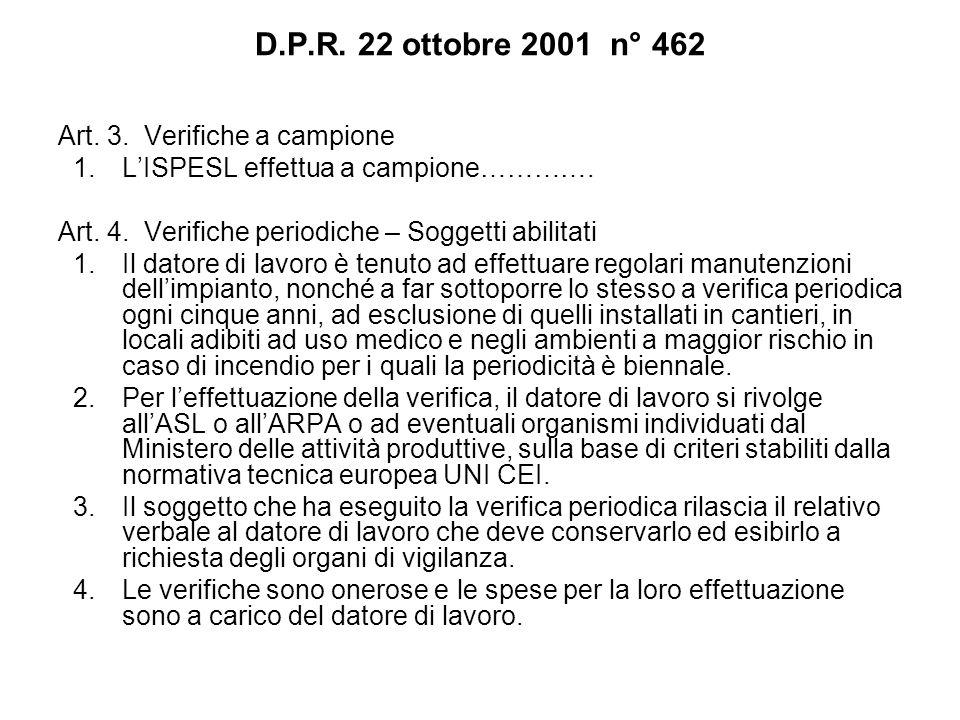 D.P.R. 22 ottobre 2001 n° 462 Art. 3. Verifiche a campione 1.LISPESL effettua a campione…………. Art. 4. Verifiche periodiche – Soggetti abilitati 1.Il d