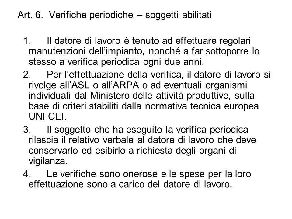 Art. 6. Verifiche periodiche – soggetti abilitati 1.Il datore di lavoro è tenuto ad effettuare regolari manutenzioni dellimpianto, nonché a far sottop