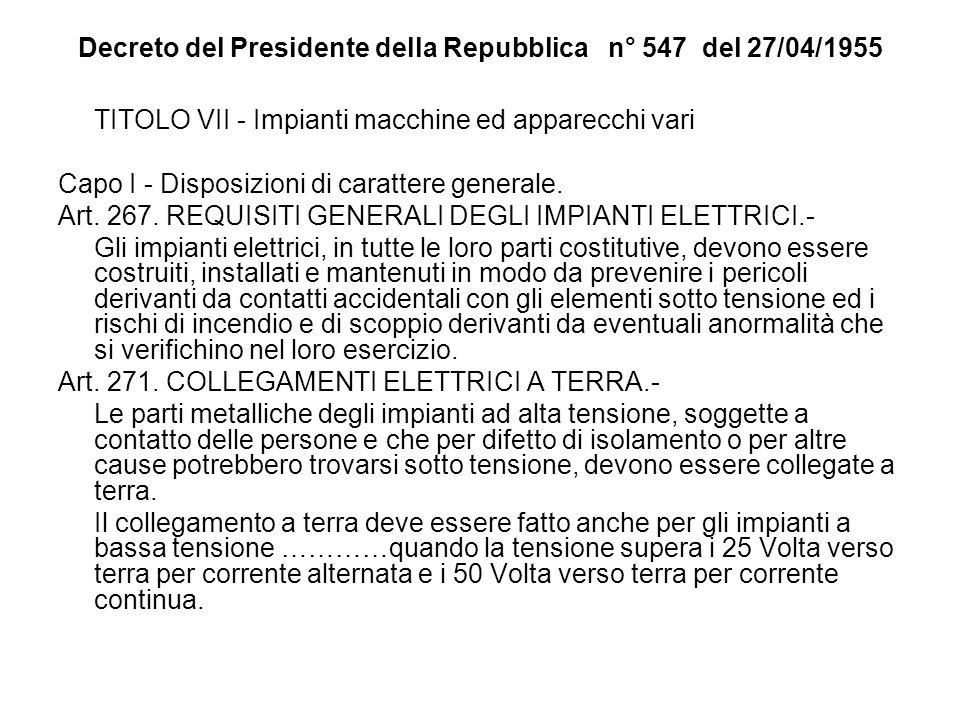 TITOLO VII - Impianti macchine ed apparecchi vari Capo I - Disposizioni di carattere generale. Art. 267. REQUISITI GENERALI DEGLI IMPIANTI ELETTRICI.-