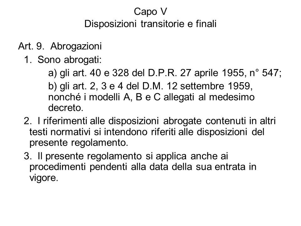 Capo V Disposizioni transitorie e finali Art. 9. Abrogazioni 1. Sono abrogati: a) gli art. 40 e 328 del D.P.R. 27 aprile 1955, n° 547; b) gli art. 2,