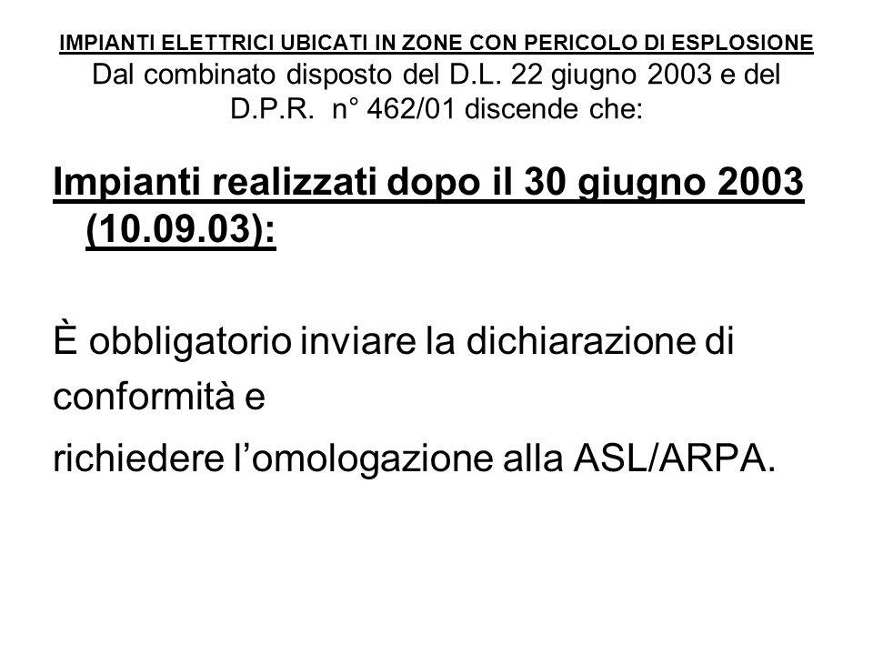 IMPIANTI ELETTRICI UBICATI IN ZONE CON PERICOLO DI ESPLOSIONE Dal combinato disposto del D.L. 22 giugno 2003 e del D.P.R. n° 462/01 discende che: Impi