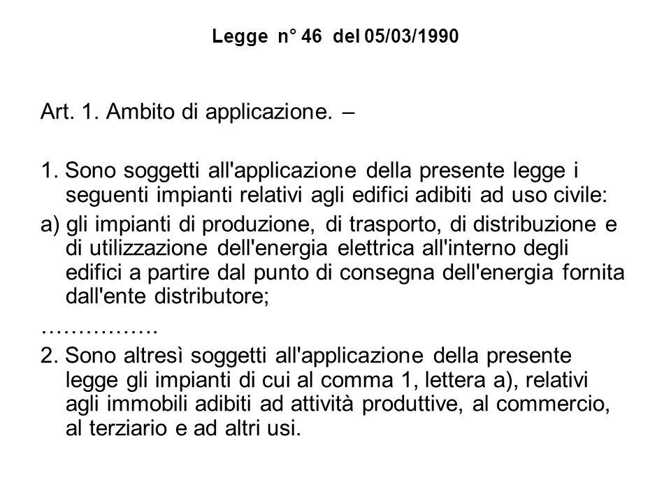 Legge n° 46 del 05/03/1990 Art. 1. Ambito di applicazione. – 1. Sono soggetti all'applicazione della presente legge i seguenti impianti relativi agli