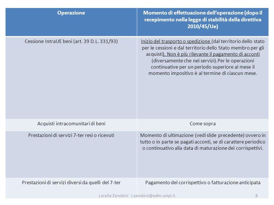 Momento di effetuazione operazioni IntraUe OperazioneMomento di effettuazione delloperazione (dopo il recepimento nella legge di stabilità della diret