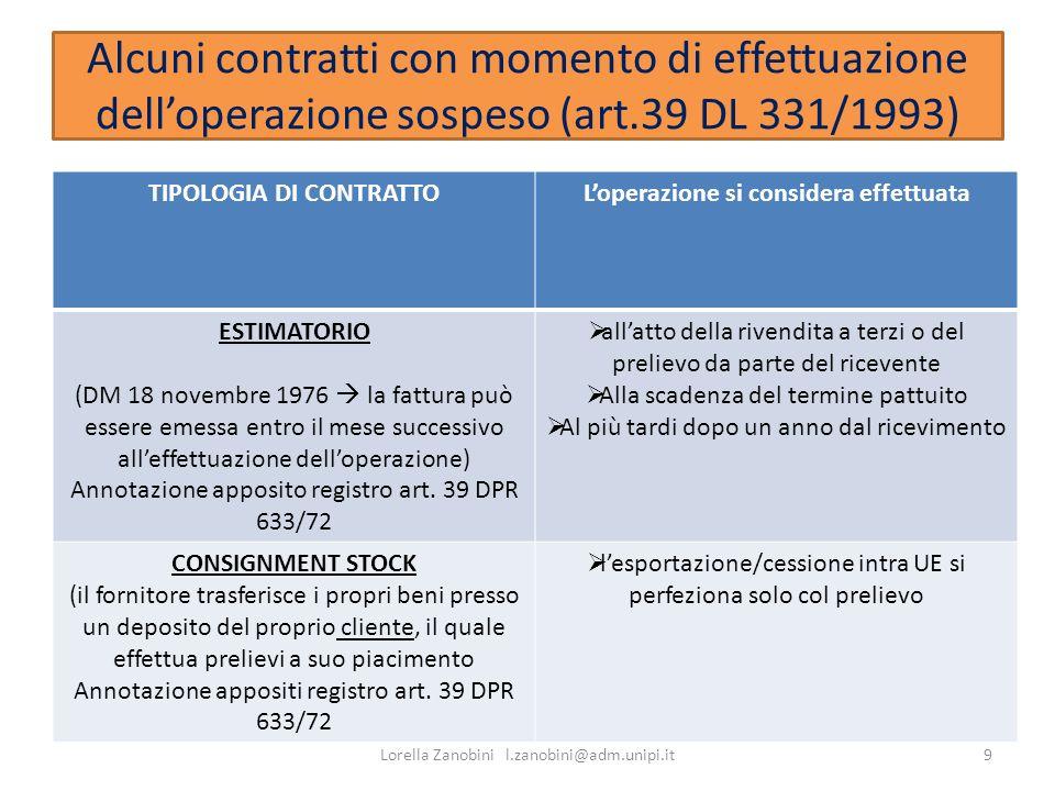 Alcuni contratti con momento di effettuazione delloperazione sospeso (art.39 DL 331/1993) TIPOLOGIA DI CONTRATTOLoperazione si considera effettuata ES