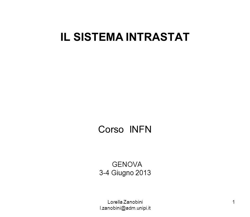 IL SISTEMA INTRASTAT Corso INFN GENOVA 3-4 Giugno 2013 Lorella Zanobini l.zanobini@adm.unipi.it 1