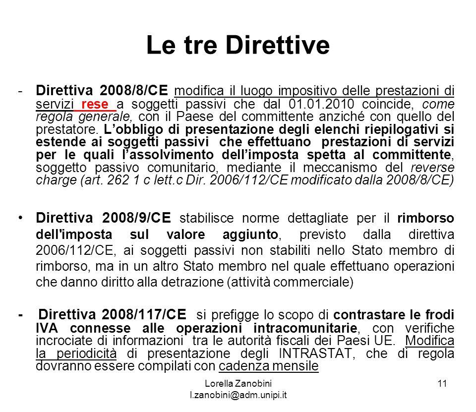 Le tre Direttive -Direttiva 2008/8/CE modifica il luogo impositivo delle prestazioni di servizi rese a soggetti passivi che dal 01.01.2010 coincide, c
