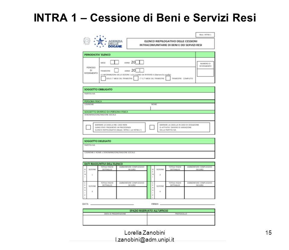 INTRA 1 – Cessione di Beni e Servizi Resi Lorella Zanobini l.zanobini@adm.unipi.it 15