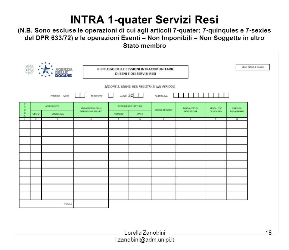 INTRA 1-quater Servizi Resi (N.B. Sono escluse le operazioni di cui agli articoli 7-quater; 7-quinquies e 7-sexies del DPR 633/72) e le operazioni Ese
